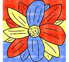 Flower Red Yellow Blue Photographic Print