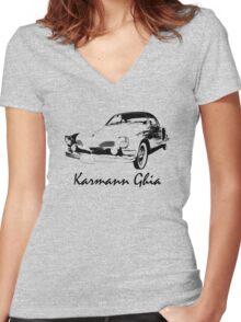 VW Karmann Ghia Stensil Print Women's Fitted V-Neck T-Shirt