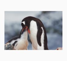 "Gentoo Penguin and Chick ~ ""Meals Home Delivered"" Kids Tee"