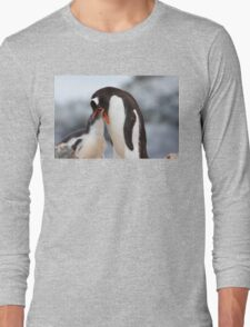 "Gentoo Penguin and Chick ~ ""Meals Home Delivered"" Long Sleeve T-Shirt"