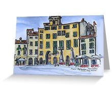 Piazza Anfiteatro Lucca 2015 pen and wash Greeting Card