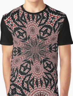 Intricate Black Red and White Kaleidoscope Graphic T-Shirt