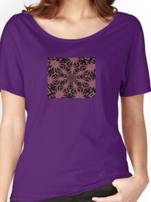 Delicate Black White and Red Lace Kaleidoscope  Women's Relaxed Fit T-Shirt