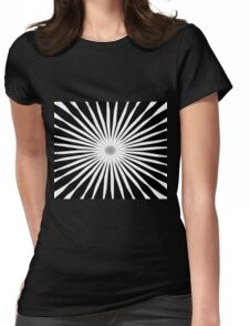 Starburst Black and White Pattern Womens Fitted T-Shirt