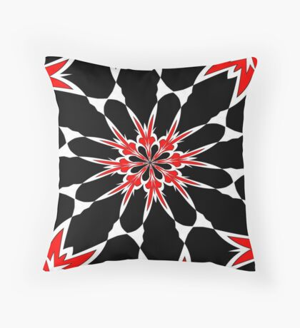 Bizarre Red Black and White Pattern 3 Throw Pillow