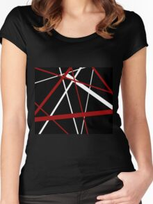 Red and White Stripes on A Black Background Women's Fitted Scoop T-Shirt