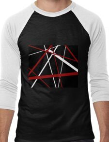 Red and White Stripes on A Black Background Men's Baseball ¾ T-Shirt