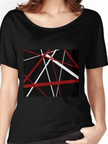 Red and White Stripes on A Black Background Women's Relaxed Fit T-Shirt