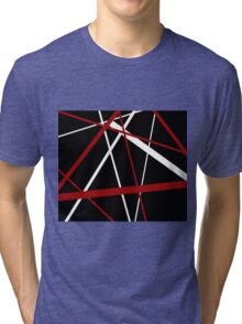 Red and White Stripes on A Black Background Tri-blend T-Shirt
