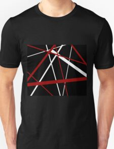 Red and White Stripes on A Black Background T-Shirt