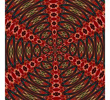 Red, Green And Gold Kaleidoscopic Abstract Photographic Print