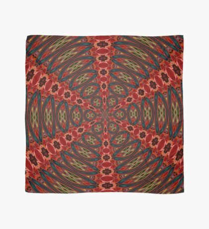 Red, Green And Gold Kaleidoscopic Abstract Scarf