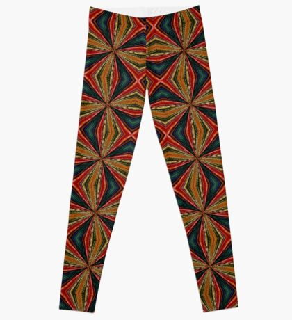 Red, Green And Gold Repeating Pattern Leggings