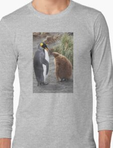 King Penguin and chick ~ Meal Time Long Sleeve T-Shirt