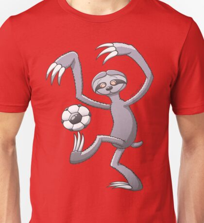 Cool Sloth Playing with a Soccer Ball Unisex T-Shirt