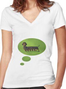 Centipedian Dachshund Women's Fitted V-Neck T-Shirt