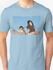 """Adelie Penguin and chicks ~ """"and WHEN do I get fed!!"""" Unisex T-Shirt"""