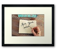 Motivational concept with handwritten text FREE YOUR MIND Framed Print