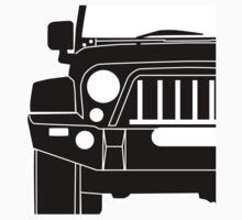JK Jeep Wrangler with Bull Bar - Front Right Corner & Zoom - Sticker / Phone Case Kids Tee