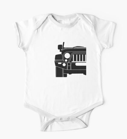JK Jeep Wrangler with Bull Bar - Front Right Corner & Zoom - Sticker / Phone Case One Piece - Short Sleeve