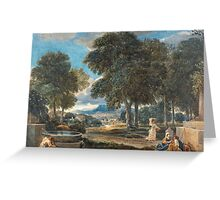 David Cox - Landscape with a Man Washing His Feet at a Fountain, after Poussin ca.  Greeting Card