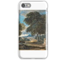 David Cox - Landscape with a Man Washing His Feet at a Fountain, after Poussin ca.  iPhone Case/Skin