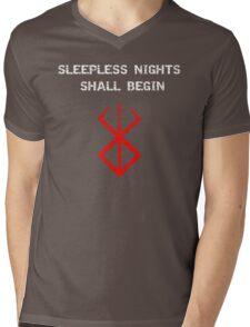 Berserk - Sleepless nights (Red) Mens V-Neck T-Shirt