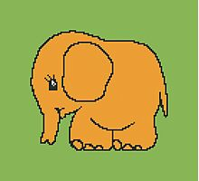 Funny cross-stitch orange baby elephant Photographic Print