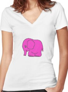 Funny cross-stitch pink elephant Women's Fitted V-Neck T-Shirt