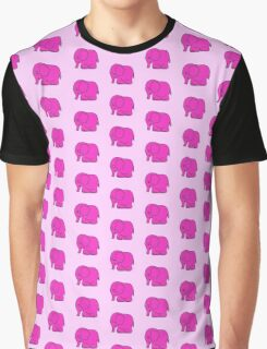 Funny cross-stitch pink elephant Graphic T-Shirt