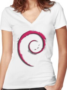Debian Logo Women's Fitted V-Neck T-Shirt