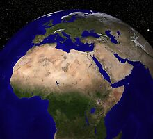 Global view of Earth over North Africa, Europe, the Middle East, and India. by StocktrekImages