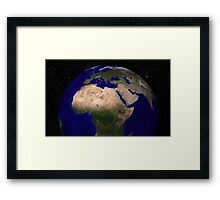Global view of Earth over North Africa, Europe, the Middle East, and India. Framed Print