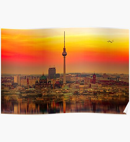 Berlin at sunset Poster