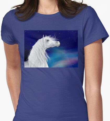 Star Gazer .. White Stallion Womens Fitted T-Shirt