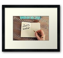 Motivational concept with handwritten text 2015 REVIEW Framed Print