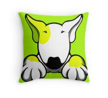 I Want Something Bull Terrier Yellow & White Throw Pillow