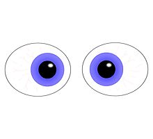 Crossed Eyes Blue Cartoon Photographic Print