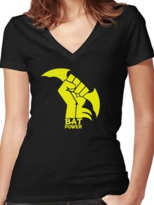 BATMAN POWER - BLACK POWER - BAT POWER Women's Fitted V-Neck T-Shirt