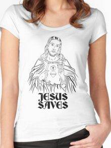 Jesus Saves Women's Fitted Scoop T-Shirt