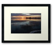 Icy Sunrise - Winter Waterfront Tranquility Framed Print