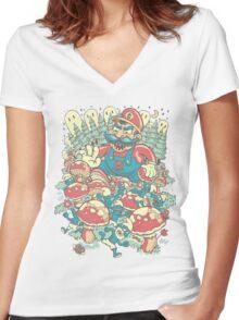Mario Bros vs. Smurfs Women's Fitted V-Neck T-Shirt