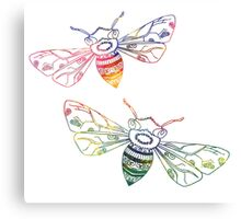 Multicolored Doodle Bees Canvas Print