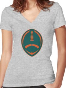 Vector Football - Dolphins Women's Fitted V-Neck T-Shirt