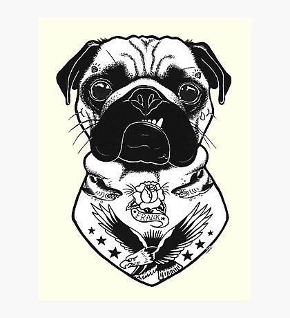 Tattooed Dog - Pug Photographic Print