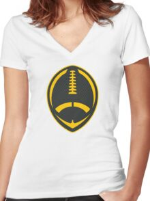 Vector Football - Steelers Women's Fitted V-Neck T-Shirt