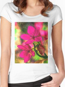 Flowers pink rosa orange Women's Fitted Scoop T-Shirt