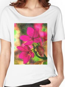 Flowers pink rosa orange Women's Relaxed Fit T-Shirt