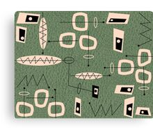 Mid-Century Modern Green Abstract Canvas Print