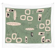 Mid-Century Modern Green Abstract Wall Tapestry